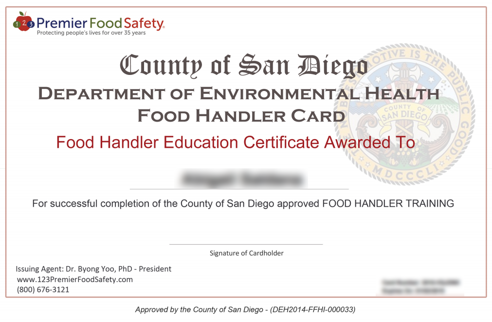 san diego food handler card online training