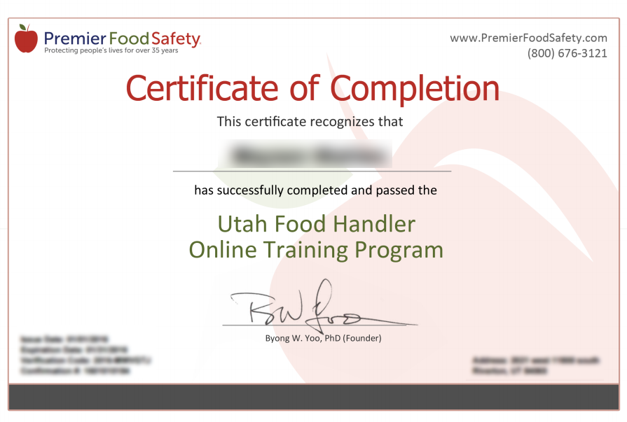 Utah Food Handler Card Online Training